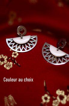 Boucles d'oreilles inox personnalisable fait main - Eventail et sequin blanc. Calino crea