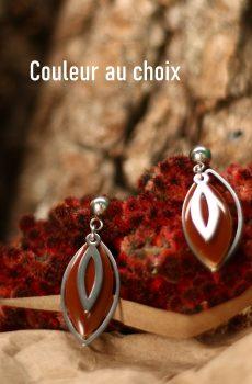 Boucles d'oreilles inox personnalisable fait main - amandes argentées et sequin marron. Calino Crea