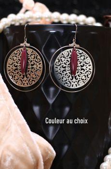 Boucles d'oreilles inox personnalisables fait main - anneau, filigrane et sequin amande bordeaux. Calino Crea