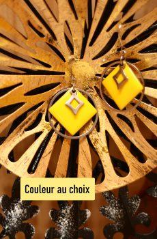 Boucles d'oreilles inox personnalisable fait main - sequin carré jaune et losange argenté. Calino Crea