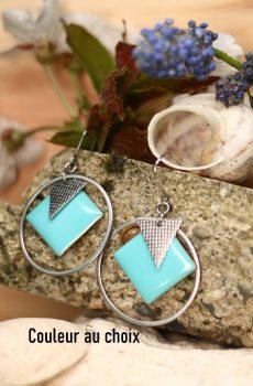 Boucles d'oreilles inox personnalisable fait main - sequin carré turquoise et triangle argenté. Calino Crea
