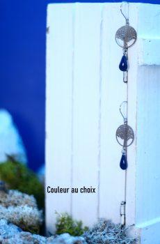 Boucles d'oreilles inox personnalisables fait main - Arbre argenté et sequin émaillé goutte. Calino Crea
