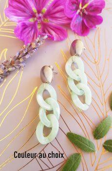 Boucles d'oreilles inox fait main - chaîne maillons menthe et argentés. Calino Crea