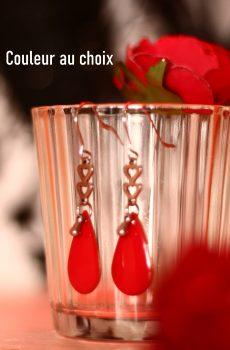 Boucles d'oreilles inox personnalisables fait main - Cœurs et sequin émaillé goutte rouge. Calino Crea
