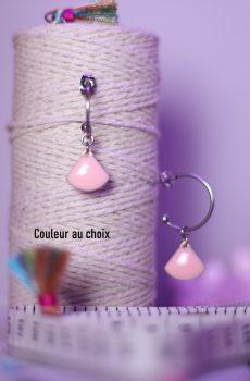 Boucles d'oreilles inox personnalisables fait main - Créole et sequin éventail rose. Calino Crea