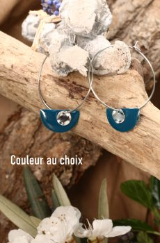 Boucles d'oreilles inox personnalisable fait main - Créole et éventail pétrole. Calino Crea