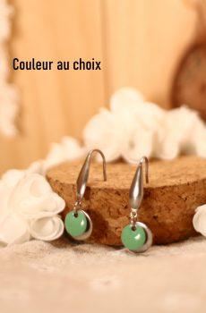 Boucles d'oreilles inox personnalisables fait main - crochet long et sequin émaillé menthe. Calino Crea