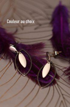 Boucles d'oreilles inox personnalisables fait main - Amande argentée et sequin émaillé blanc. Calino crea