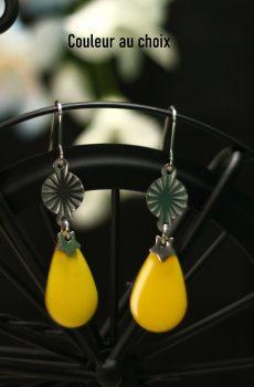 Boucles d'oreilles inox personnalisables - étoile argentée et sequin émaillé goutte jaune