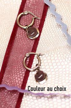 Boucles d'oreilles inox personnalisables fait main - petite créole avec double sequins. Calino crea