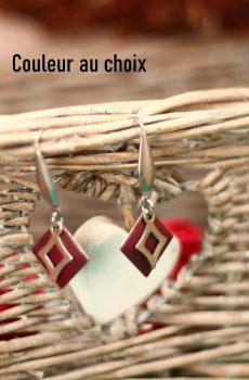 Boucles d'oreilles inox personnalisable fait main - sequin carré et losange argenté. Calino Crea