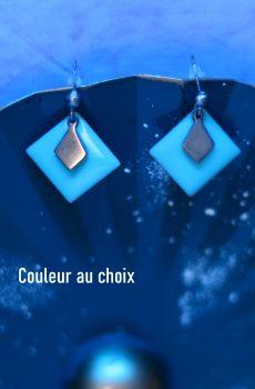 Boucles d'oreilles inox personnalisable fait main - sequin carré turquoise et losange argenté. Calino Crea