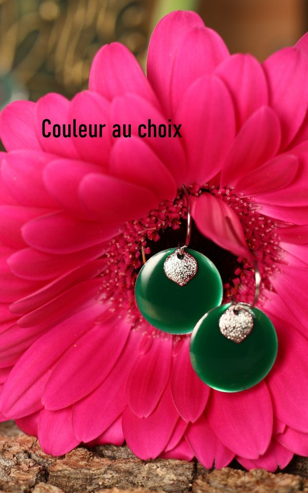 Boucles d'oreilles inox personnalisables fait main - sequins vert sapin et argenté pailleté. Calino Crea
