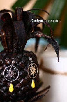 Boucles d'oreilles inox personnalisables fait main - Soleil, cercle argentés et sequin émaillé goutte. Calino crea