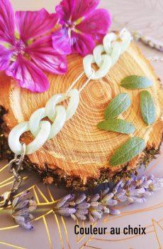 Bracelet inox personnalisable fait main - chaîne maillons menthe et argentés. Calino Crea