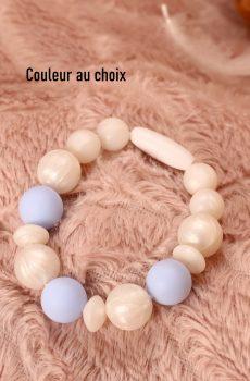 Bracelet d'allaitement et de portage personnalisable fait main - silicone blanc et bleu. Calino Crea