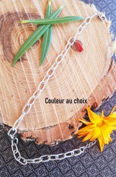 Chaîne de cheville inox personnalisable fait main - chaîne striée et sequin émaillé rouge. Calino Crea