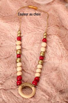 Collier d'allaitement et de portage personnalisable fait main - perles en bois naturel, rouge et doré avec anneau. Calino Crea