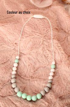 Collier d'allaitement et de portage personnalisable fait main - perles en bois blanche, grise et menthe. Calino Crea