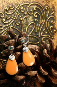 Boucles d'oreilles inox - Sequin pailleté et sequin émaillé goutte orange