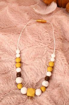 Collier d'allaitement et de portage fait main - perles rondes et hexagonales moutarde, marron et marbré. Calino Crea