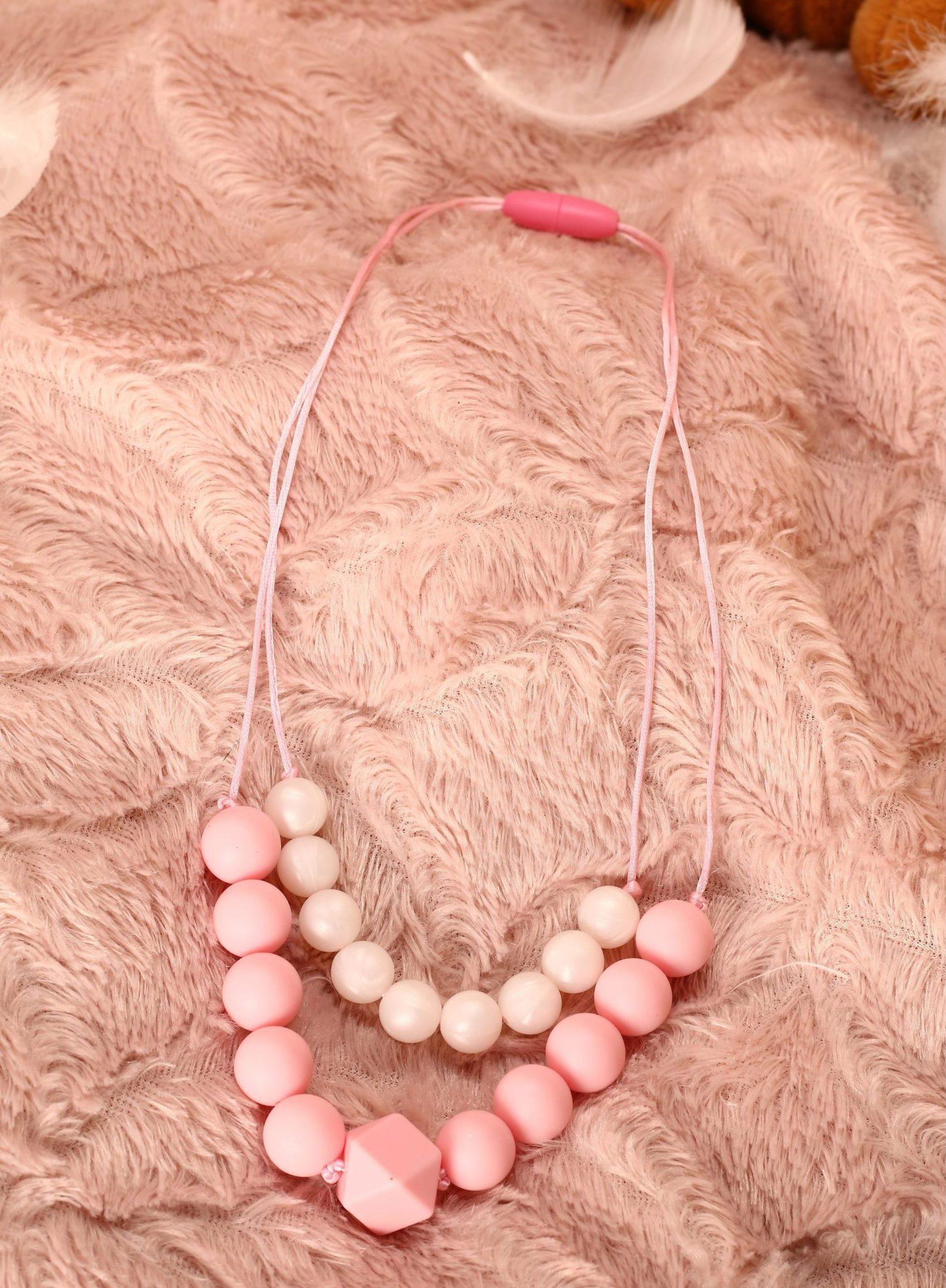 Collier de portage et d'allaitement silicone fait main - double rang blanc et rose. Calino Crea