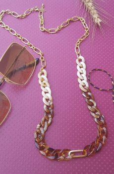 Long collier inox fait main - chaîne maillons marron, caramel, beige et dorés. Calino Crea