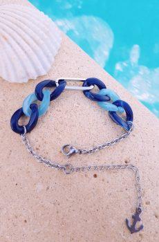 Bracelet inox personnalisable fait main - chaîne maillons camaïeu de bleu et ancre marine. Calino Crea