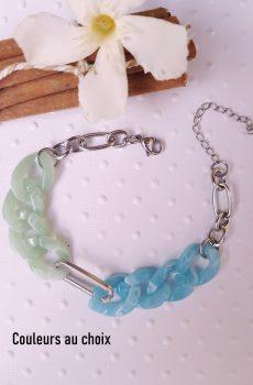 Bracelet homme ou femme inox personnalisable fait main - chaîne maillons bicolores menthe et bleu. Calino Crea