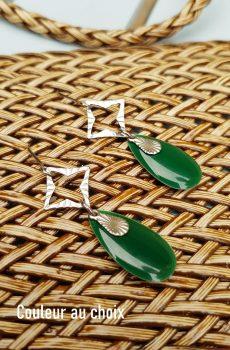 Boucles d'oreilles inox personnalisables - Losange argenté et sequin émaillé goutte vert sapin