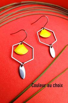 Boucles d'oreilles inox personnalisables - Hexagone argenté et éventail émaillé jaune