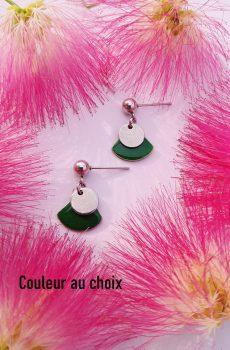 Boucles d'oreilles artisanales inox personnalisables - Sequin argenté et éventail émaillé vert. Calino Crea